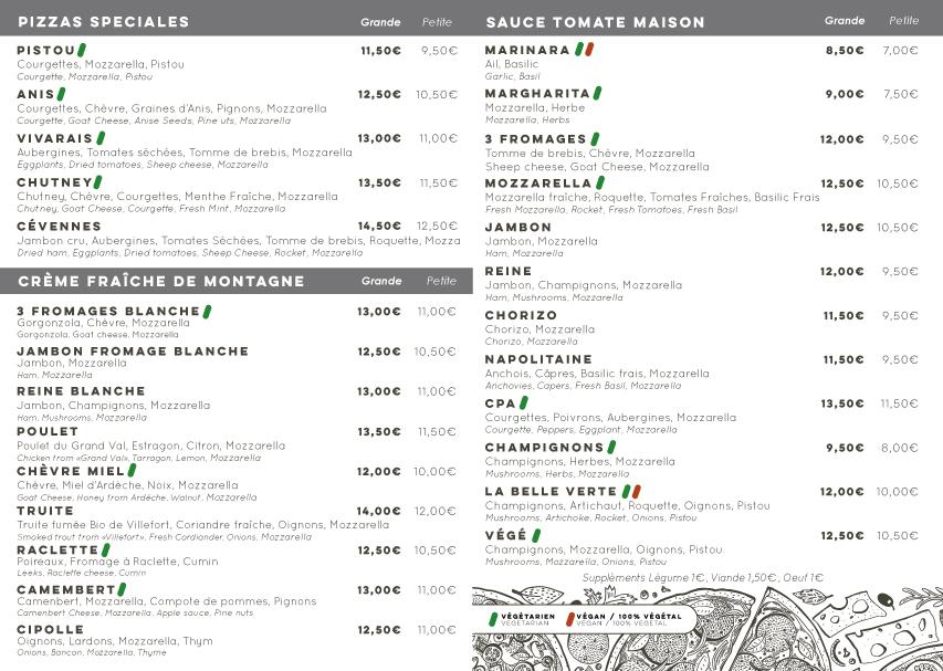 Carte des pizzas